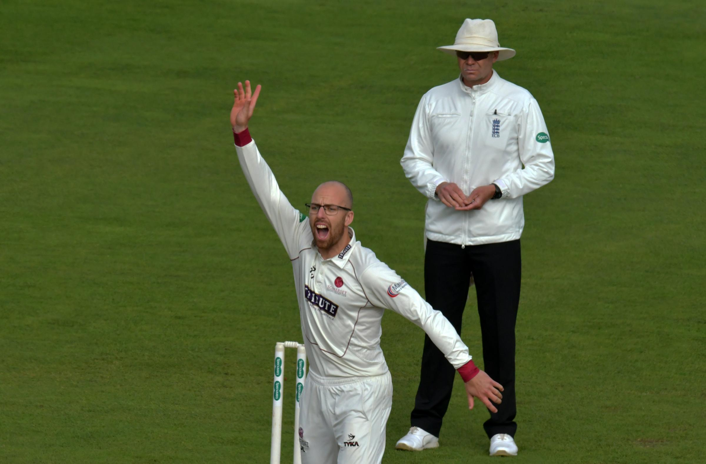 HANDS UP IF YOU'RE IN: Somerset's Jack Leach earns an England spot. Pic: Somerset CCC