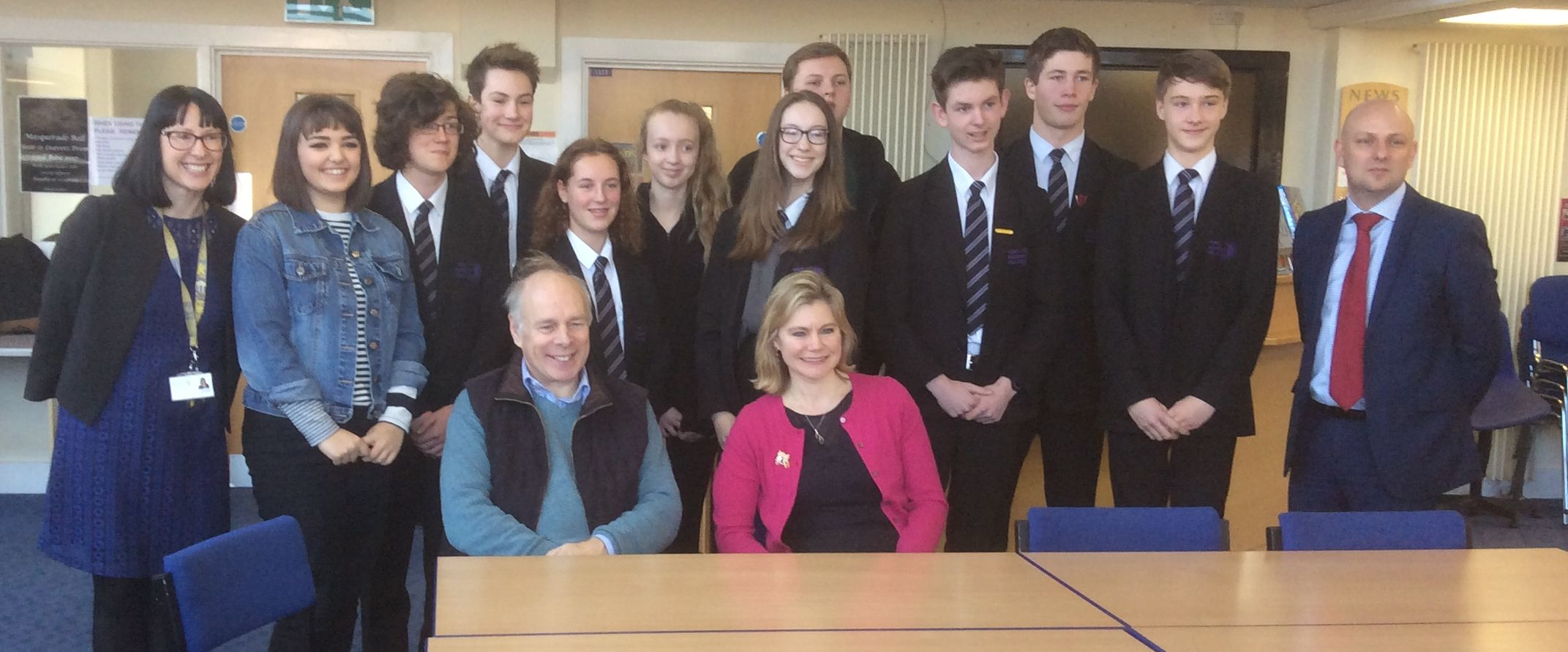 VISIT: Justine Greening and MP Ian Liddell-Grainger, join staff and pupils at West Somerset College
