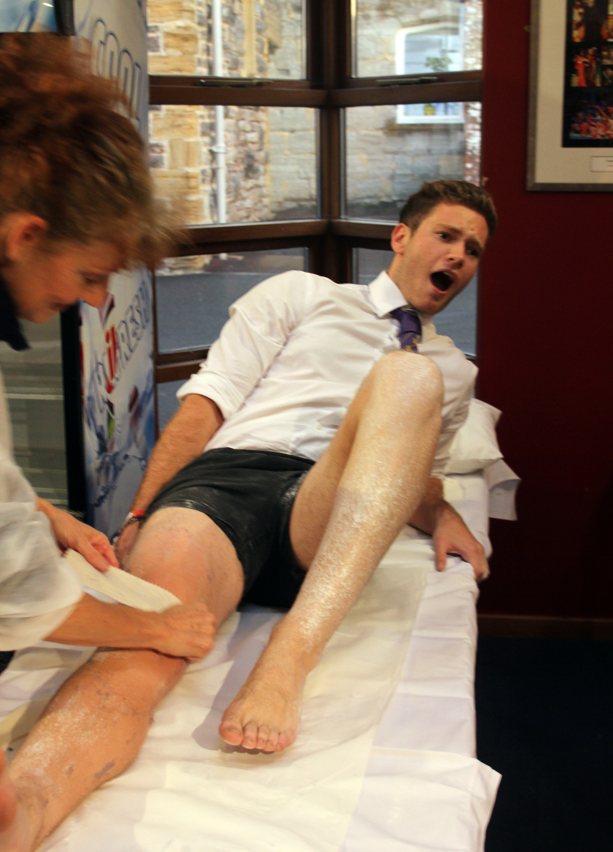 OUCH!: Students get legs waxed for charity