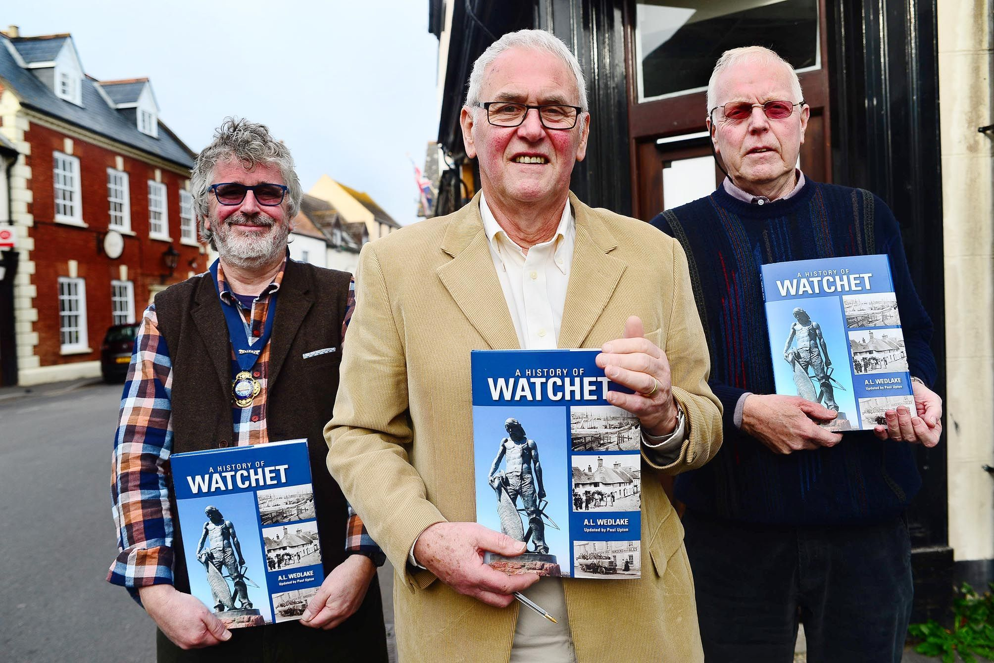 BOOK LAUNCH: Peter Murphy, mayor of Watchet, author Paul Upton and Jim Nicholas, curator of Watchet Market House Museum