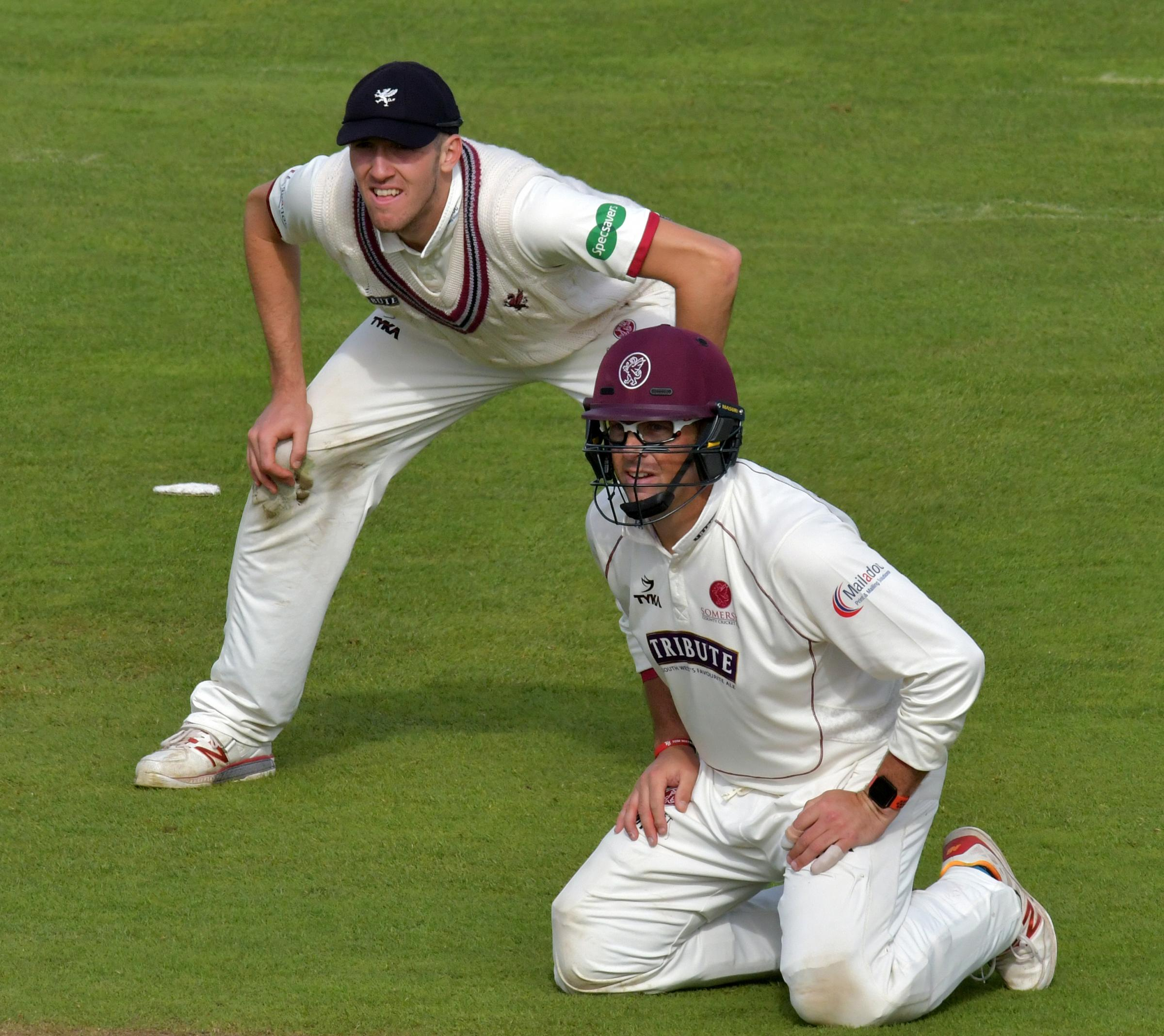 BACKING: Marcus Trescothick (right) has backed his Somerset teammate Craig Overton (left) to succeed when he gets his England chance. Pic: SCCC