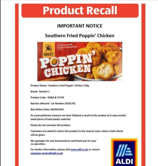 RECALLED: Aldi's Roosters Southern Fried Poppin' Chicken has been pulled from shop shelves because it may contain small pieces of plastic