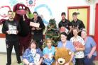 VISIT: The Somerset cricketers with hospital staff at Musgrove. PICTURE: Alain Lockyer