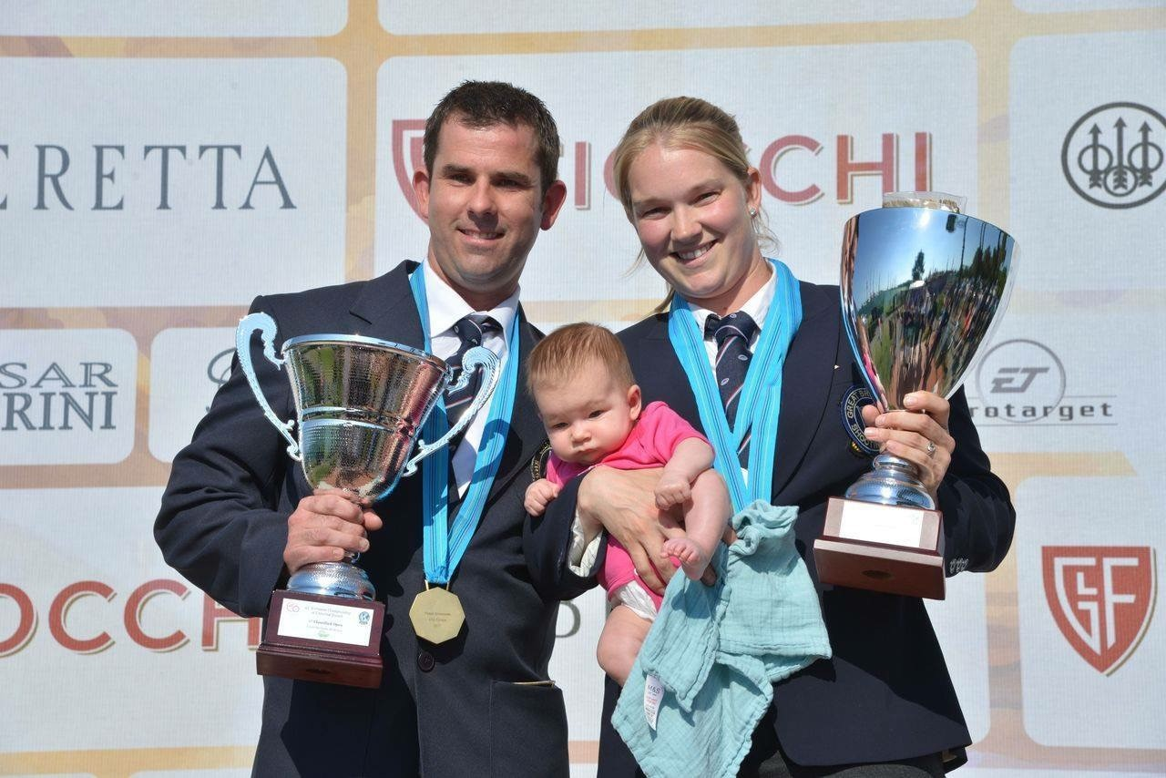 SHOOTING STARS: Ed and Abbey Ling (pictured with daughter Amy) will represent England at the 2018 Commonwealth Games.