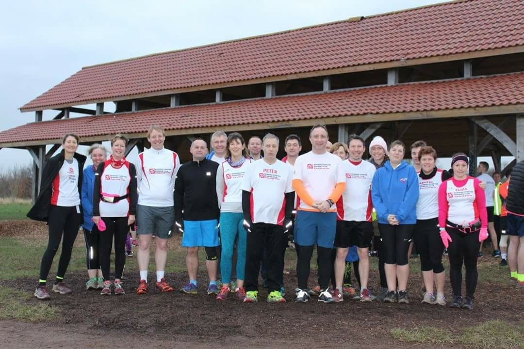 RUNNING Forever members line up before enjoying the Club Colours Run at Longrun Meadow on Saturday.