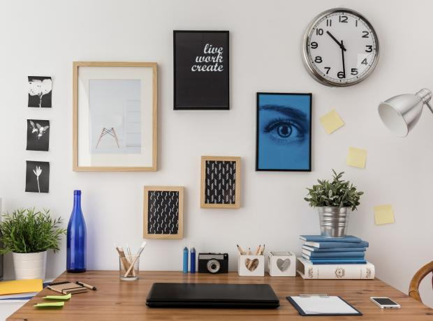Somerset County Gazette: STYLISH: Picture wall above a desk. Picture: Thinkstock/PA