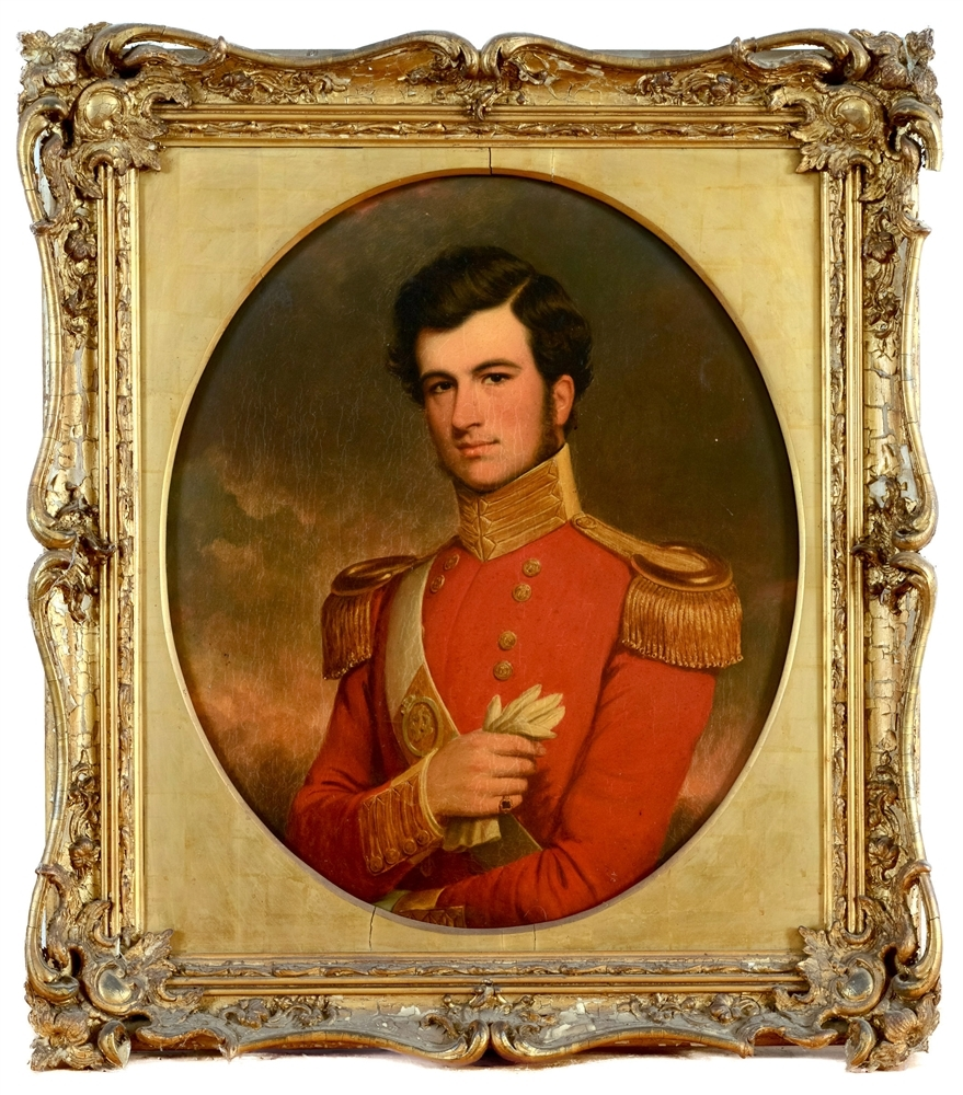 DETAILED: Portrait of a British Army officer – Charles Jeffreys Watson Allen. This painting has a pre-sale estimate of £400-£500