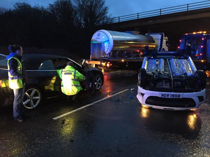 TERRIFYING: The car on its roof near the M5 in Taunton