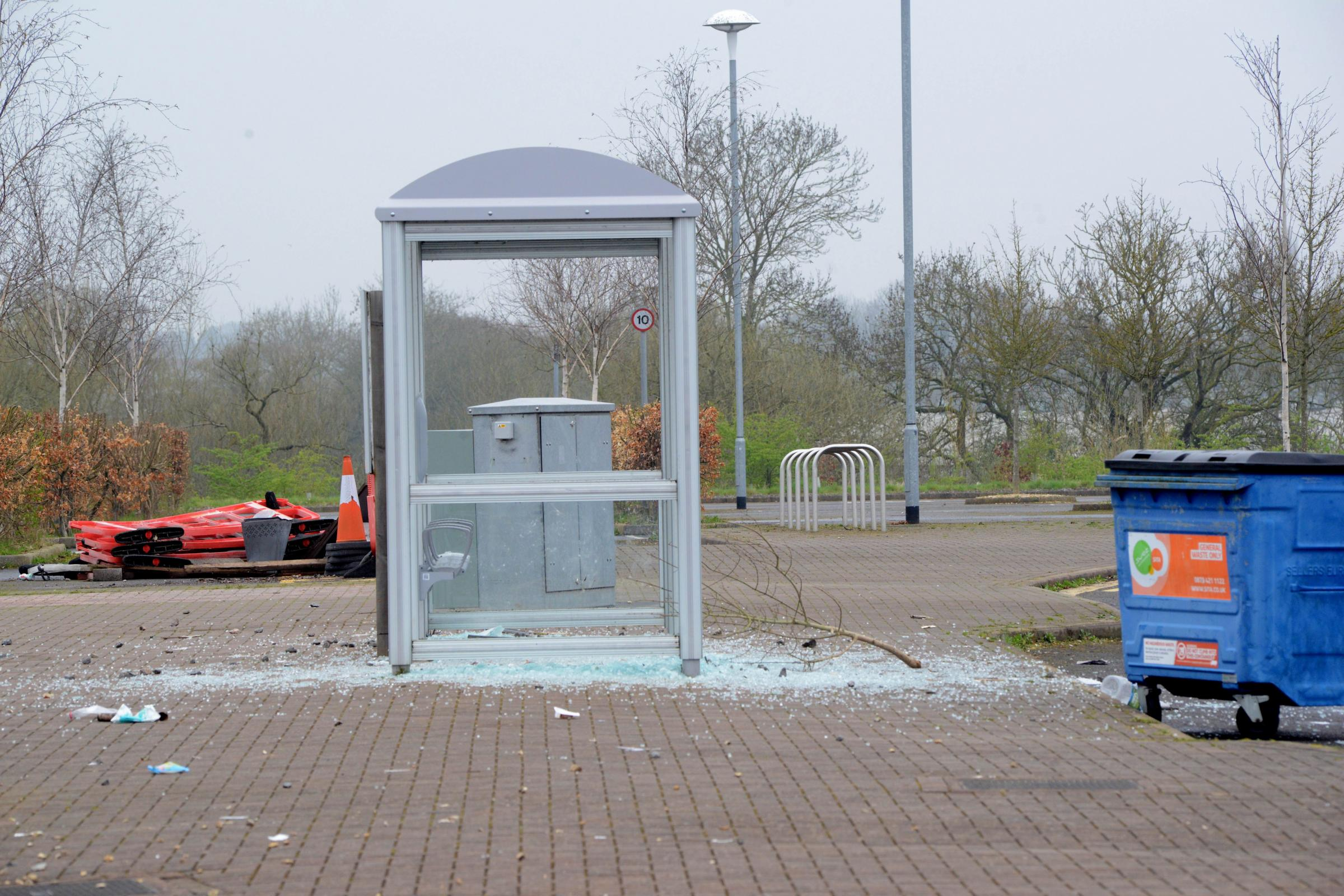 SMASHED: The bus shelter at the Gateway park-and-ride site