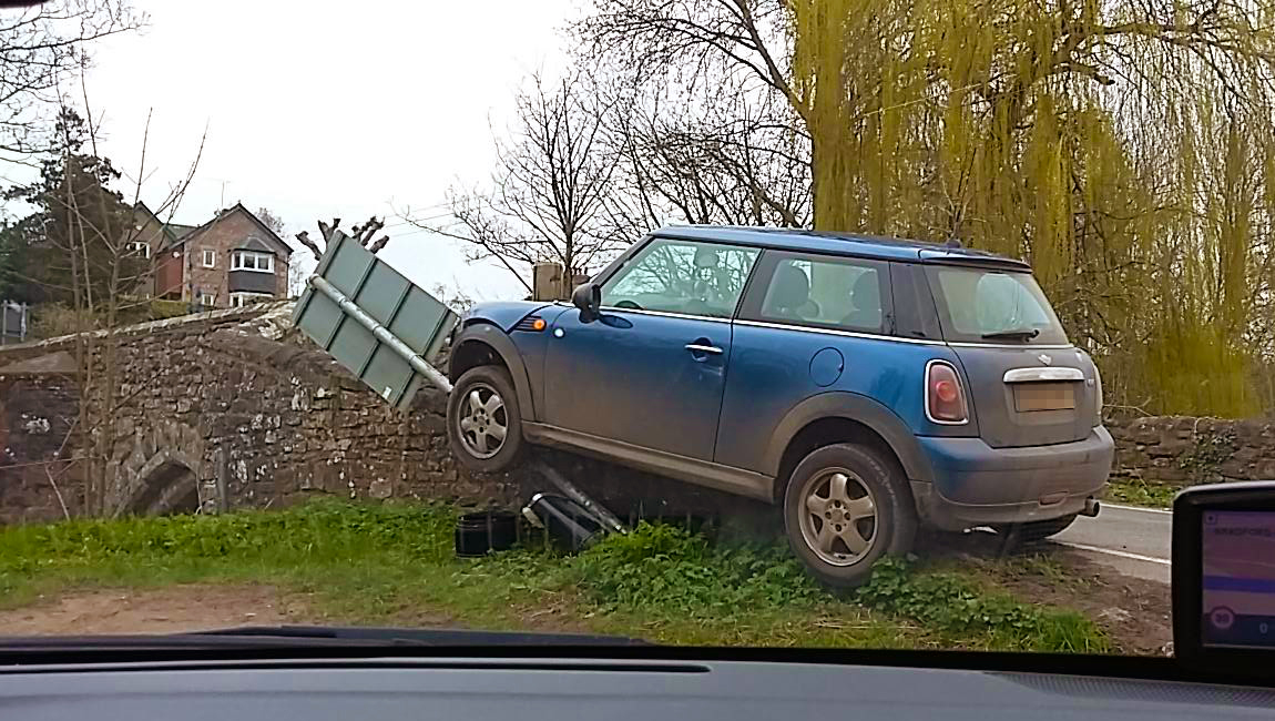 CRASH: Carol Hawkins photographed the Mini after the crash in Bradford-on-Tone