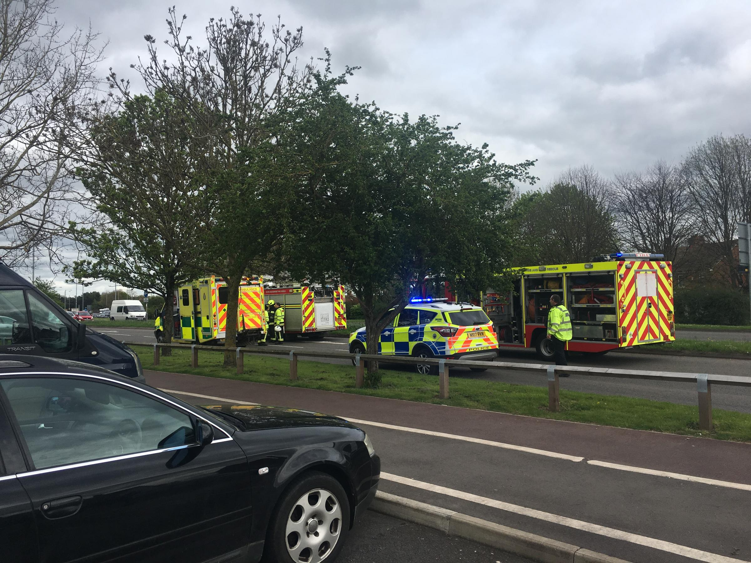 CRASH: Fire, police and ambulance at the scene of the crash outside Pets at Home