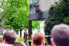TRAINING: A Royal Marine scales the side of County Hall