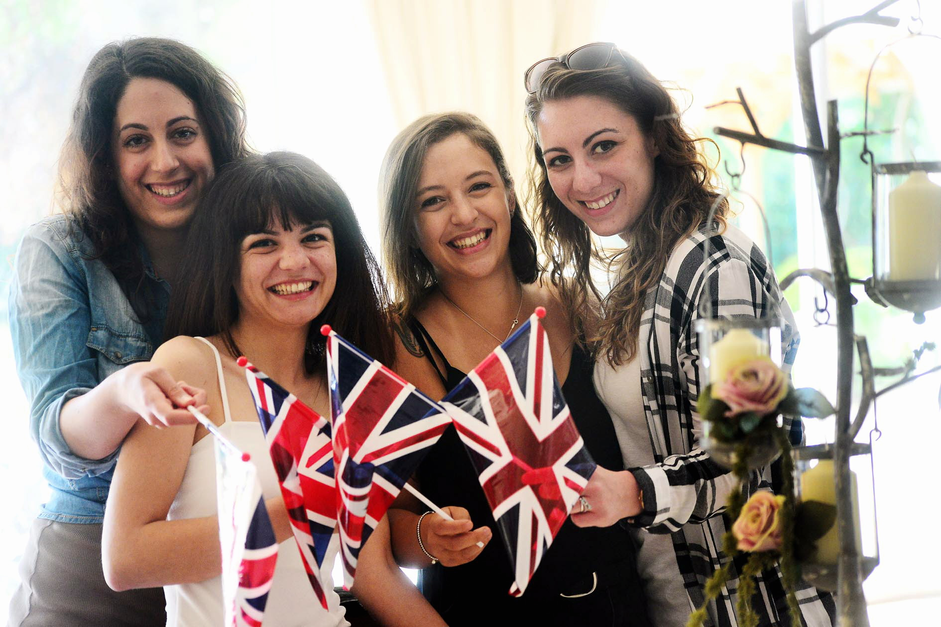 ROYAL WEDDING: Sara Manca, Linda D'incau, Alessia Carlini and Simona Vetrone enjoy a cream tea event at Woodlands Castle