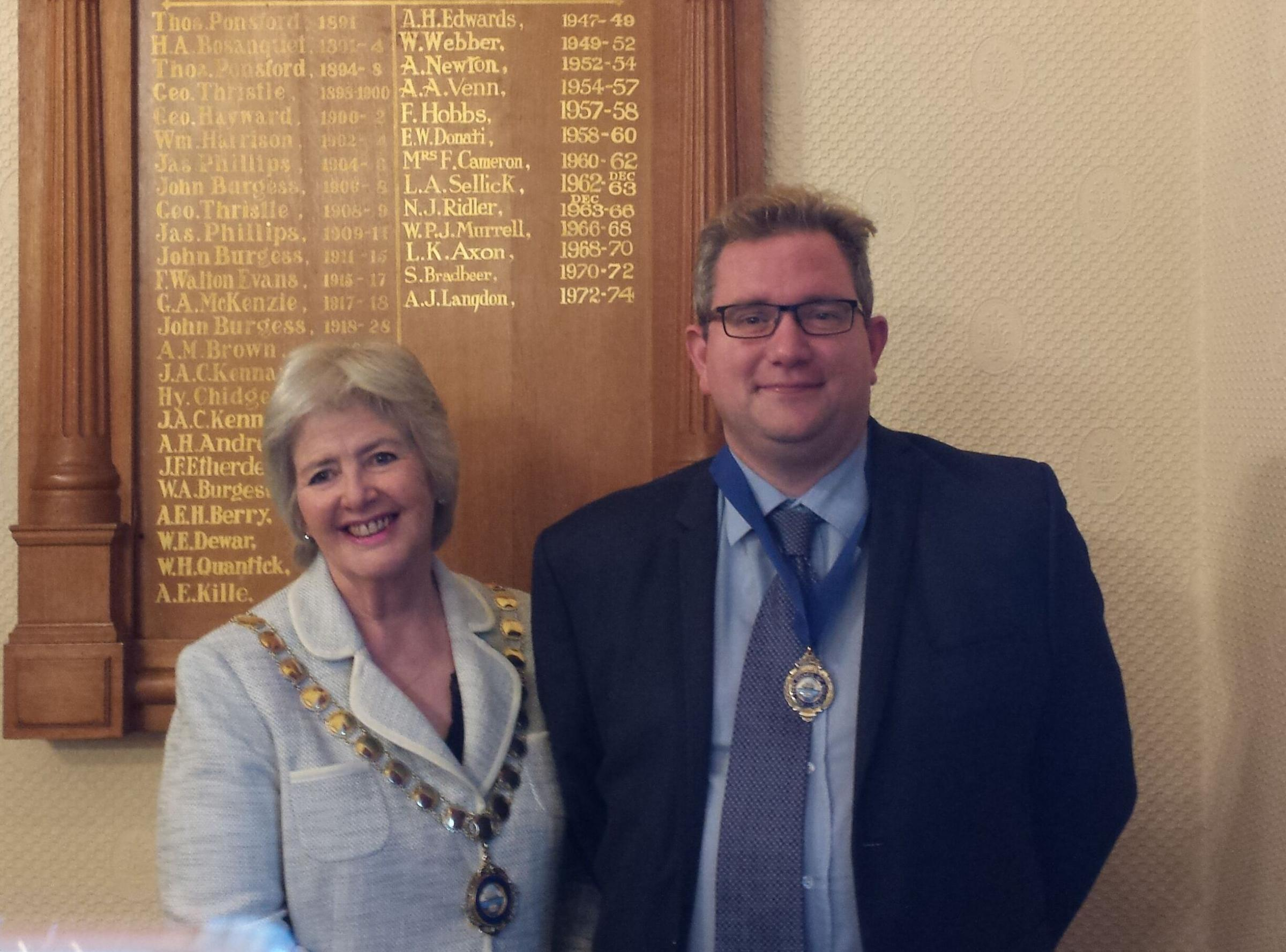 INVESTIGATION: Former mayor Cllr Jean Parbrook with the 2017/2018 deputy mayor Cllr Andy Kingston-James