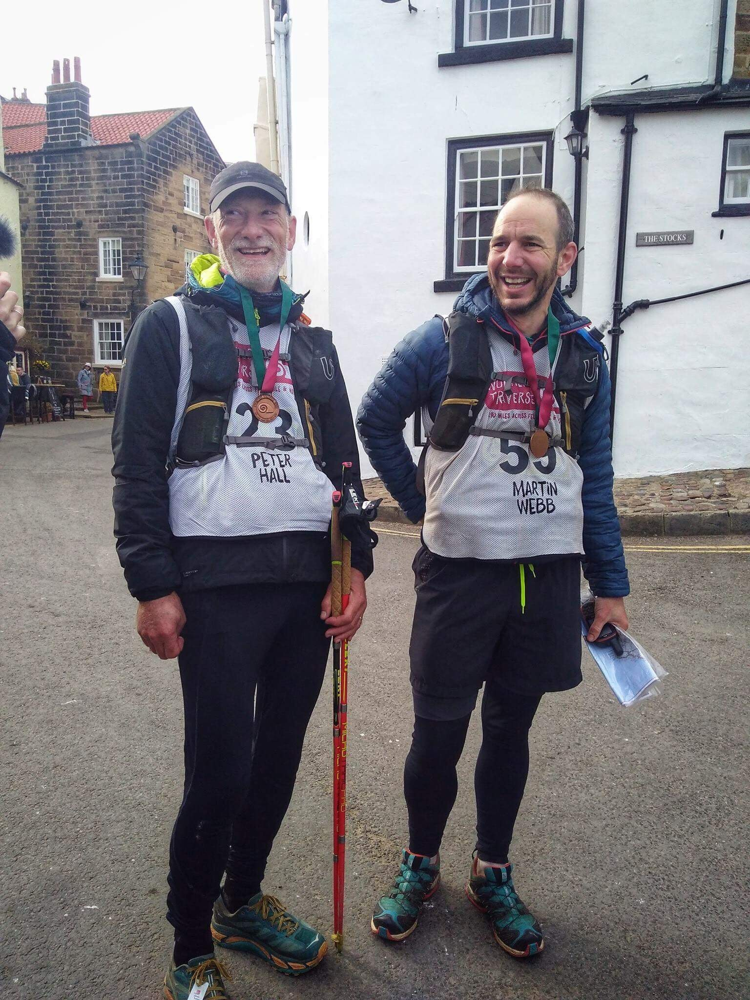 FINISHED: Peter Hall and Martin Webb at the conclusion of their 190-mile challenge.