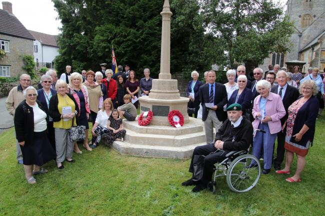 RENOVATED: Parishioners at Fivehead War Memorial. Photo courtesy of Laurie Burn