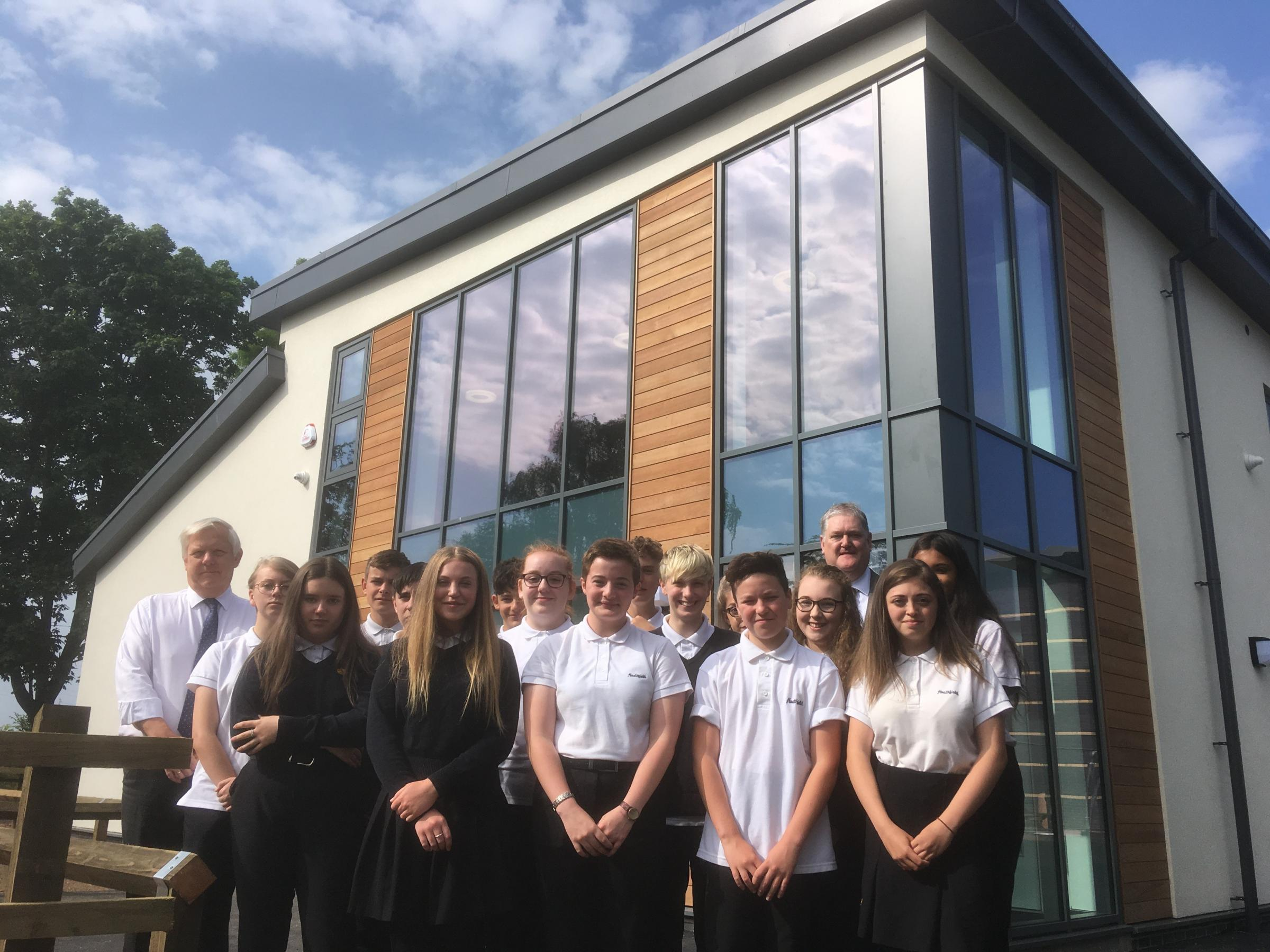 COMPLETE: Heathfield students with County Council leader David Fothergill outside the new building