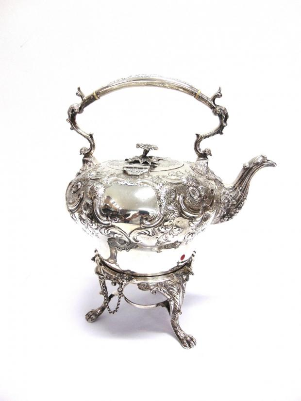 Somerset County Gazette: DELIGHTFUL: Georgian style silver spirit kettle on stand