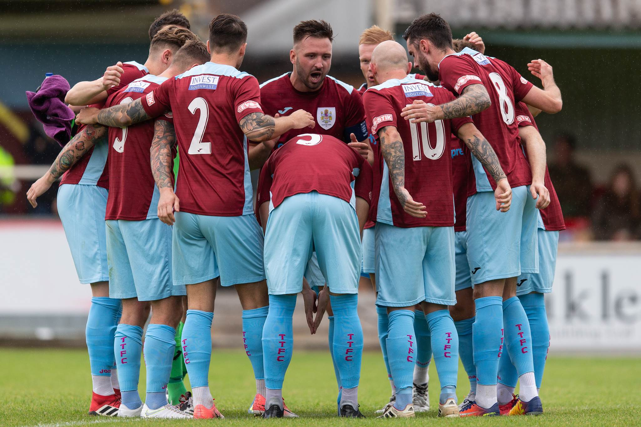 HUDDLE: Can Taunton Town rebound from Tuesday's defeat with a win tomorrow? Pic: Tim Norbury