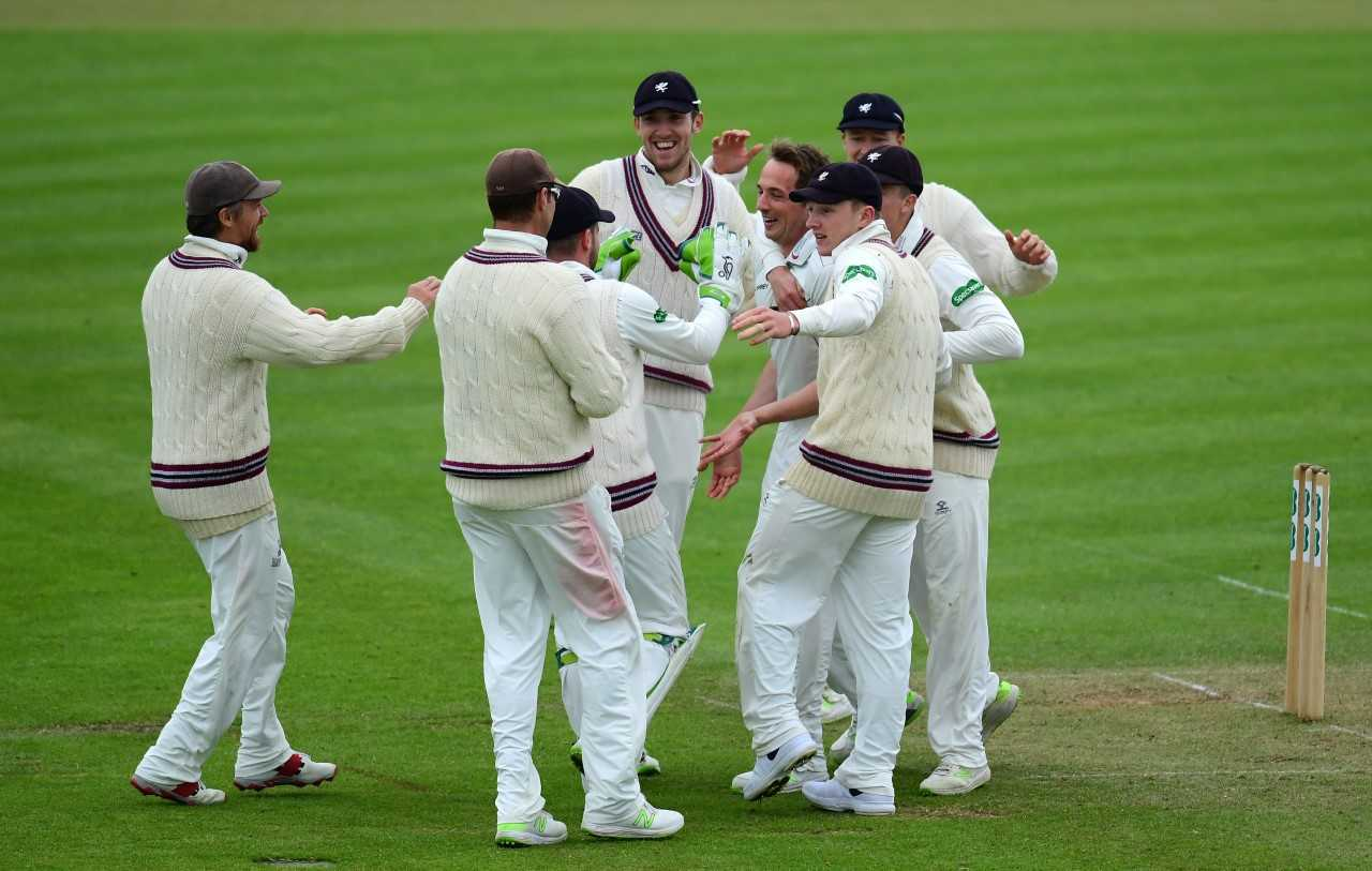 DELIGHT: Somerset's bowlers have enjoyed a fruitful day against Essex. Pic: Alex Davidson/SCCC