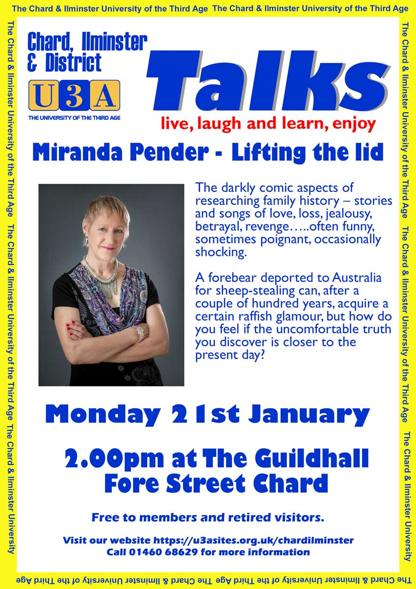 Chard and Ilminster U3A Monthly Meeting & Talk
