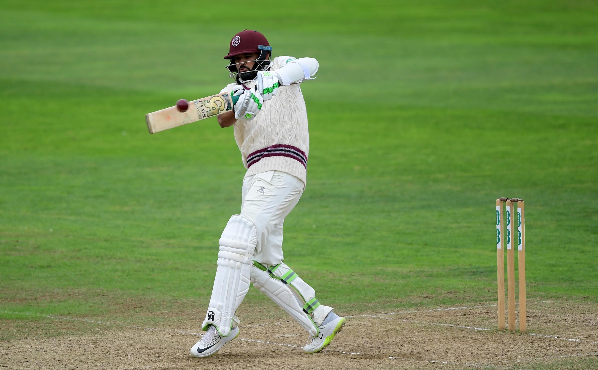 WELL PLAYED: Azhar Ali compiled an unbeaten 61 on day three of Somerset's County Championship clash with Surrey. Pic: Alex Davidson/SCCC