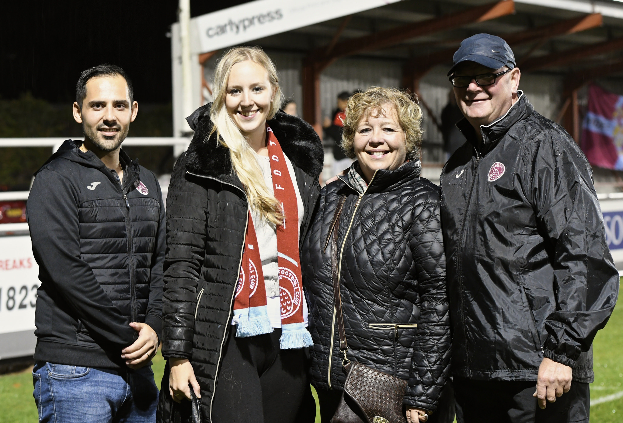 NEW TEAM: Guiseppe Fraschini from Taunton Town FC, Livvi and Sharon Grant from Daffodil PR & Communications and Taunton Town chairman Kevin Sturmey
