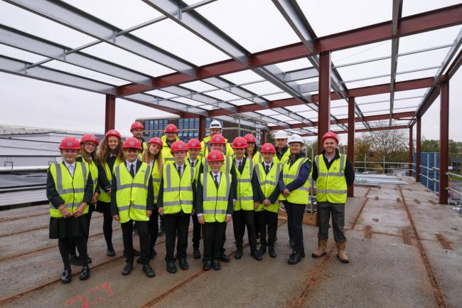 VISIT: The Castle School pupils at the new building
