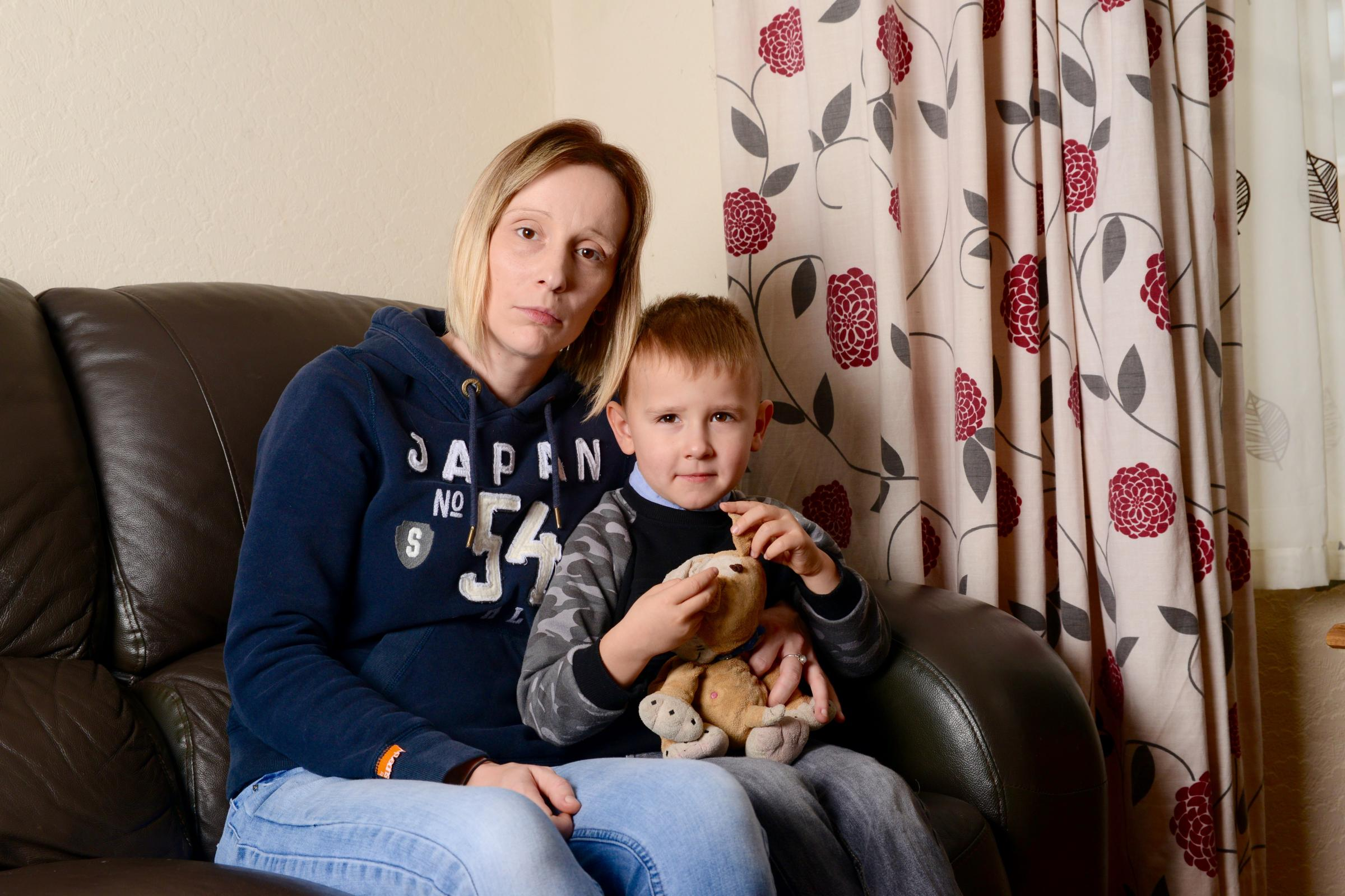 INCIDENT: Claire Frost with her four-year-old son, Connor, at their home on Gordon Road