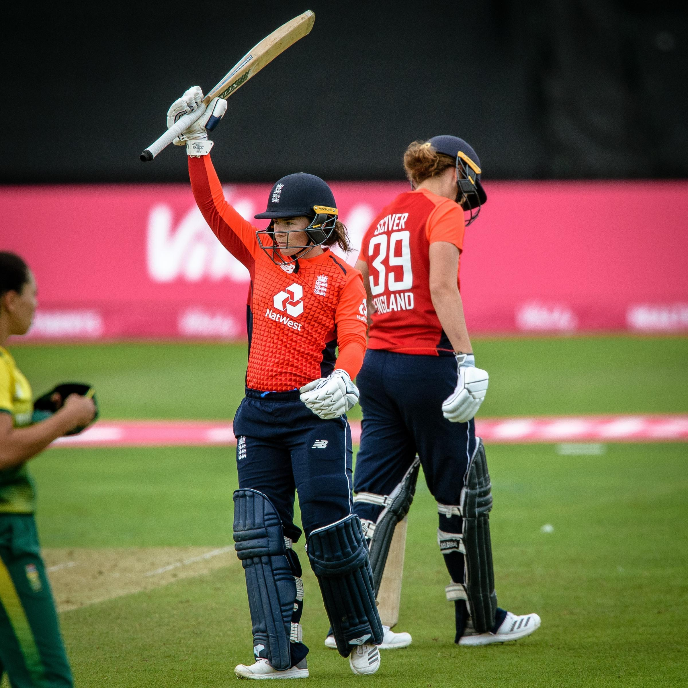 RETURN: Tammy Beaumont celebrates her century in England's IT20 against South Africa last summer - England will be back in Taunton for an Ashes Test in 2019