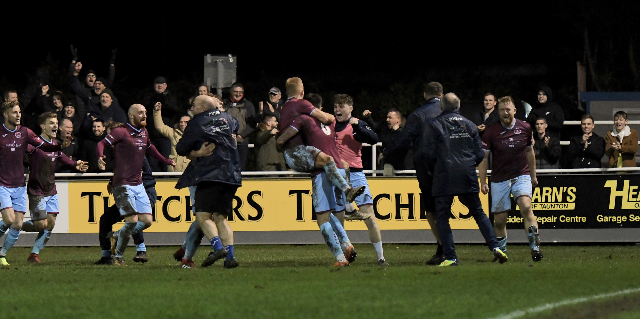 CLASSIC: Taunton Town celebrate their winning goal against Salisbury in November. Pic: Colin Andrews