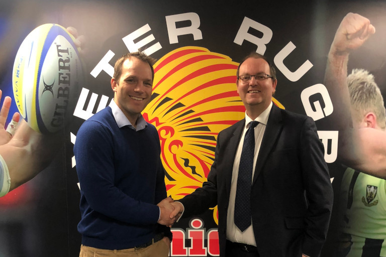 DEAL: Kai Horstmann from Exeter Chiefs with Neil Wyatt, of Cooper Associates