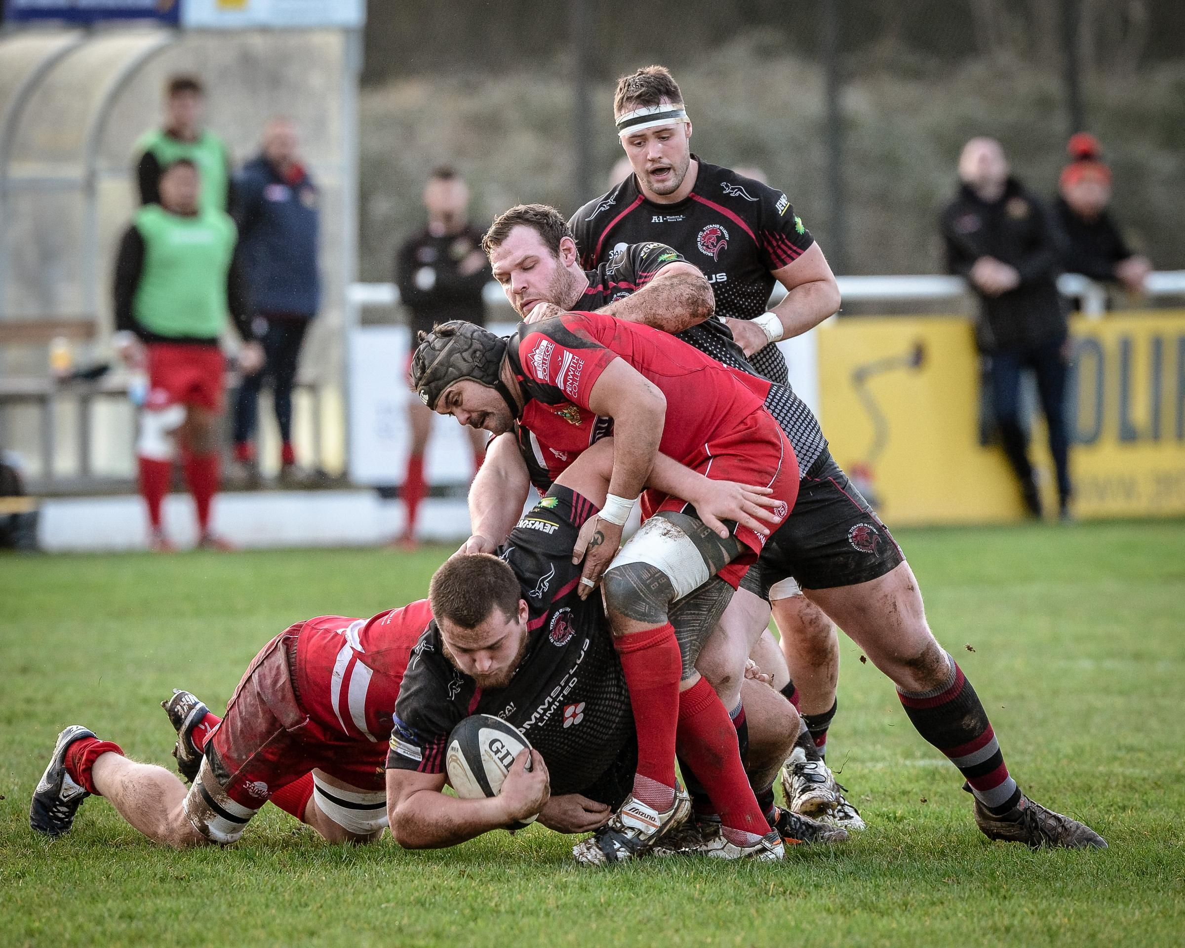 ACTION: Sam Williams carries the ball forward for Taunton against Redruth. Pic: Clayton Jane
