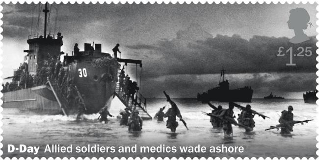 MISTAKE: Royal Mail has apologised over the stamp design which actually showed US troops on a beach in Asia. PICTURE: Royal Mail/PA Wire