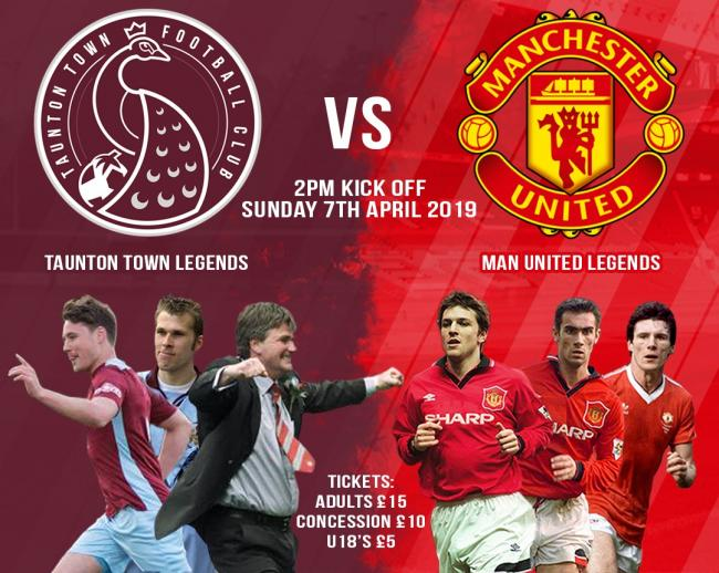CLASH: A Taunton Town Legends side welcome Manchester United Legends in April