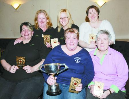 DIVISION Two winners Lost A Lots are (back from left): Carole Leonard, Mandi Lang, Sam Wallis. Front: Paula Bartraham, Suzanne Sewell, Shirley Finch.