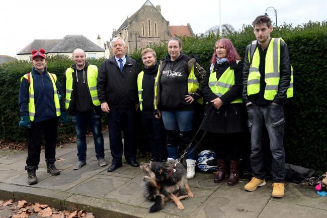 The Taunton Six & their dog.