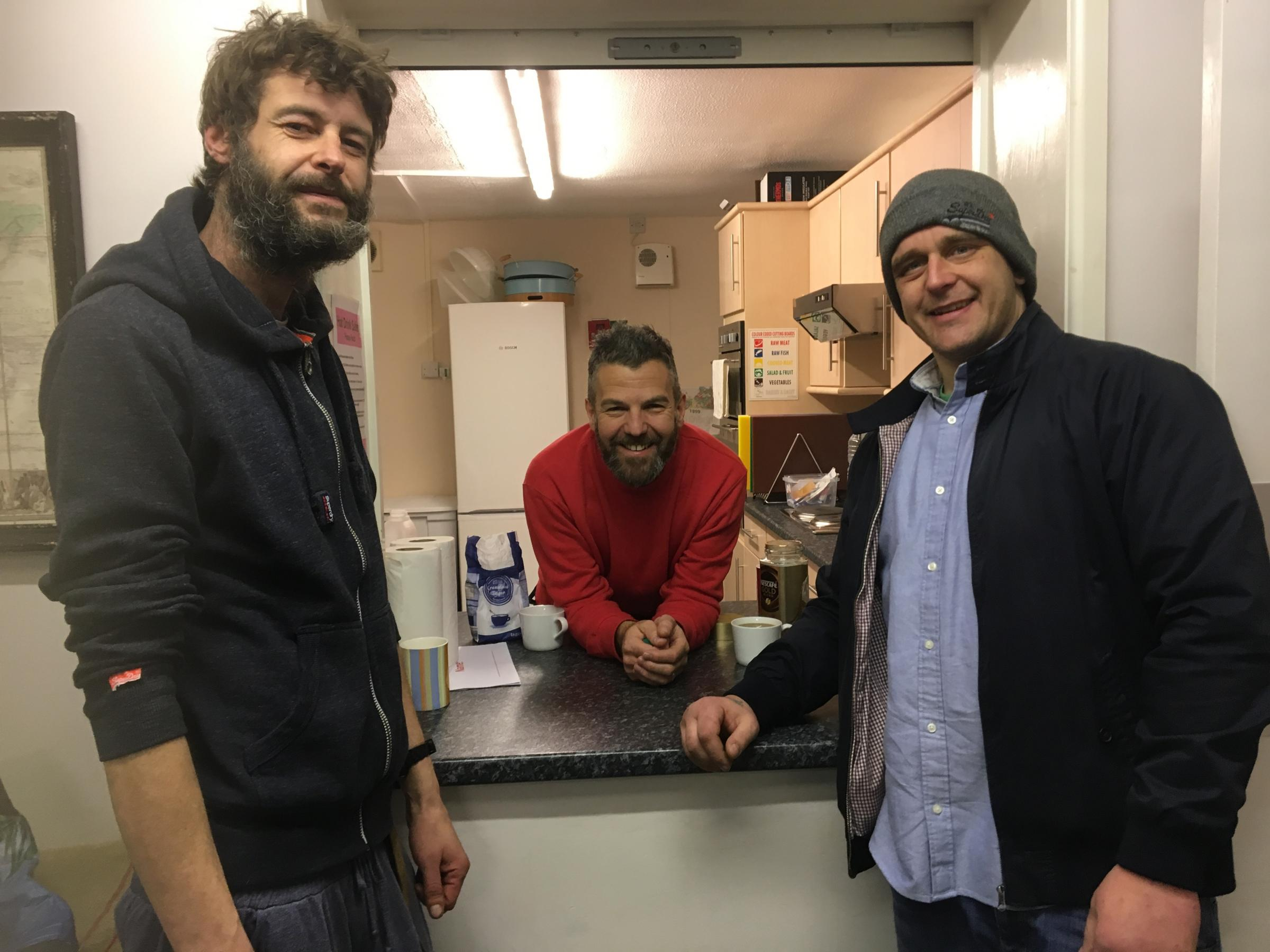 ROOM AT THE CHURCH: Rough sleepers Simon and Dan welcomed by pastor Sim Cracknell