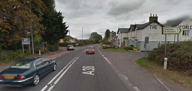 CRASH: The A38 is partially blocked following a crash opposite The World's End pub. Picture - Google