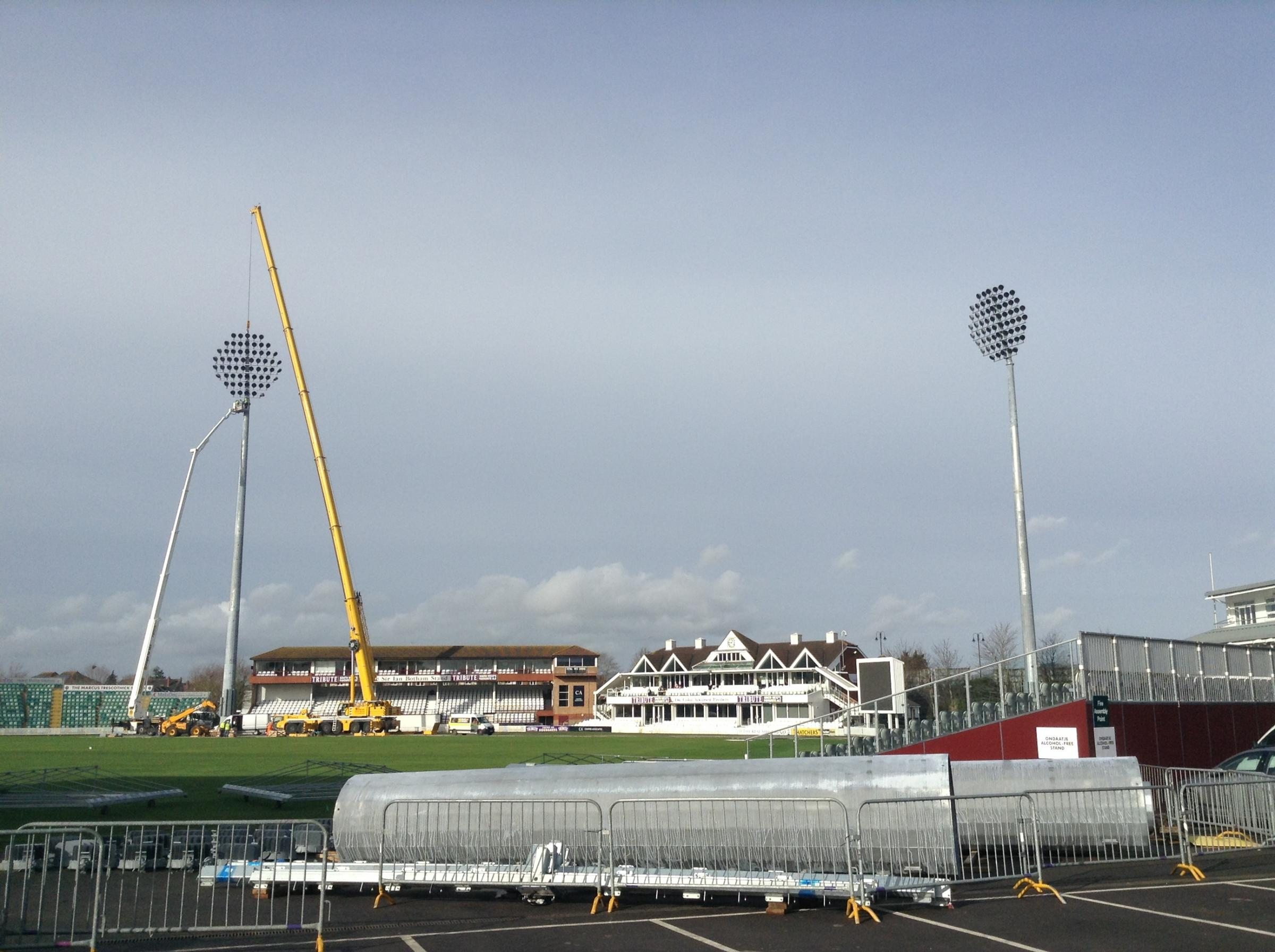 The second floodlight is installed at the Cooper Associates County Ground