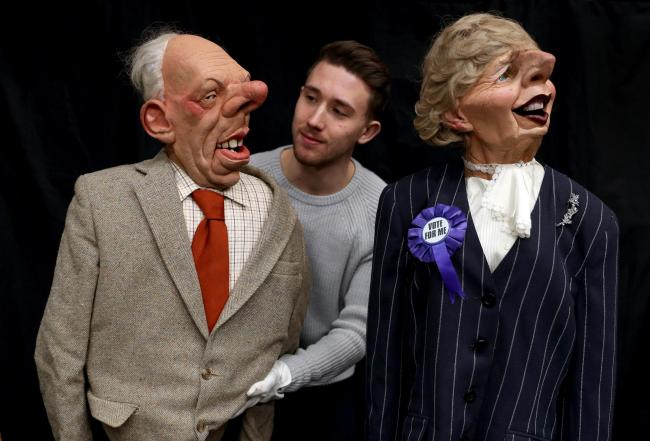 SATIRICAL: Spitting Image puppet of Margaret Thatcher and her husband Denis at the Prop Store head office near Rickmansworth. Photo: Andrew Matthews/PA Wire