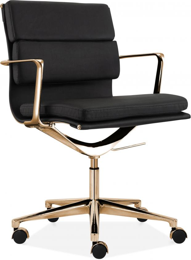 Somerset County Gazette: BLACK IS BACK: Soft Pad Office Chair, with Short Back, Black/Gold, £239, Cult Furniture. Picture: Cult Furniture/PA