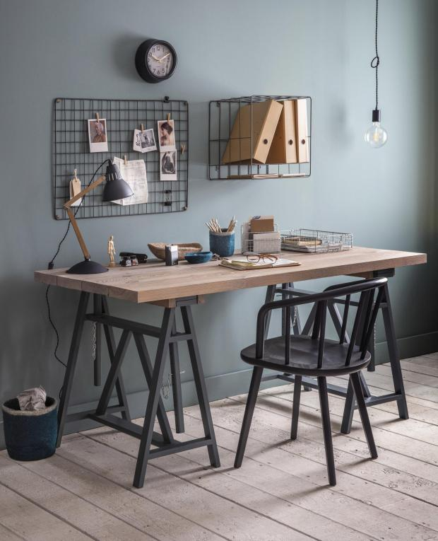 Somerset County Gazette: SHOW WHO'S BOSS: Workshop Trestle Desk, £550; Carver Chair, £195; Farringdon Memo Board, £30; Greenwich Clock, from £25; Soho Wall Lights, £30; Bermondsey Table Light, £100, Garden Trading. Picture: Garden Trading/PA