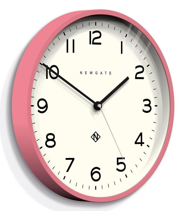 Somerset County Gazette: PRETTY UP WITH PINK: Newgate Clocks Number Three Echo Wall Clock, Marshmallow Pink, currently reduced from £45 to £38.25, Hurn & Hurn. Picture: Hurn & Hurn/PA