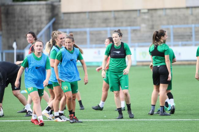 BLOW: Yeovil Town Ladies training at Bridgwater & Taunton College. Pic: Lee Collier Photography