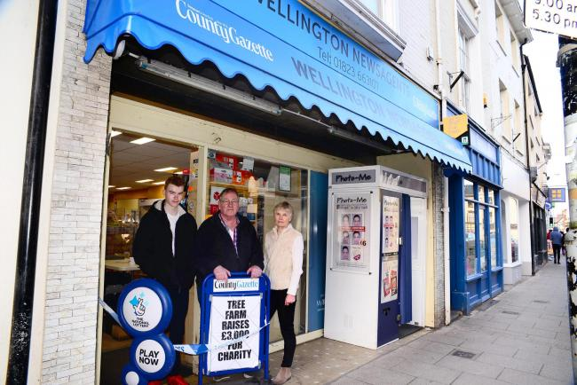 APPEAL: Helen and Jim Thorne, owners of Wellington Newsagents with their son Joseph
