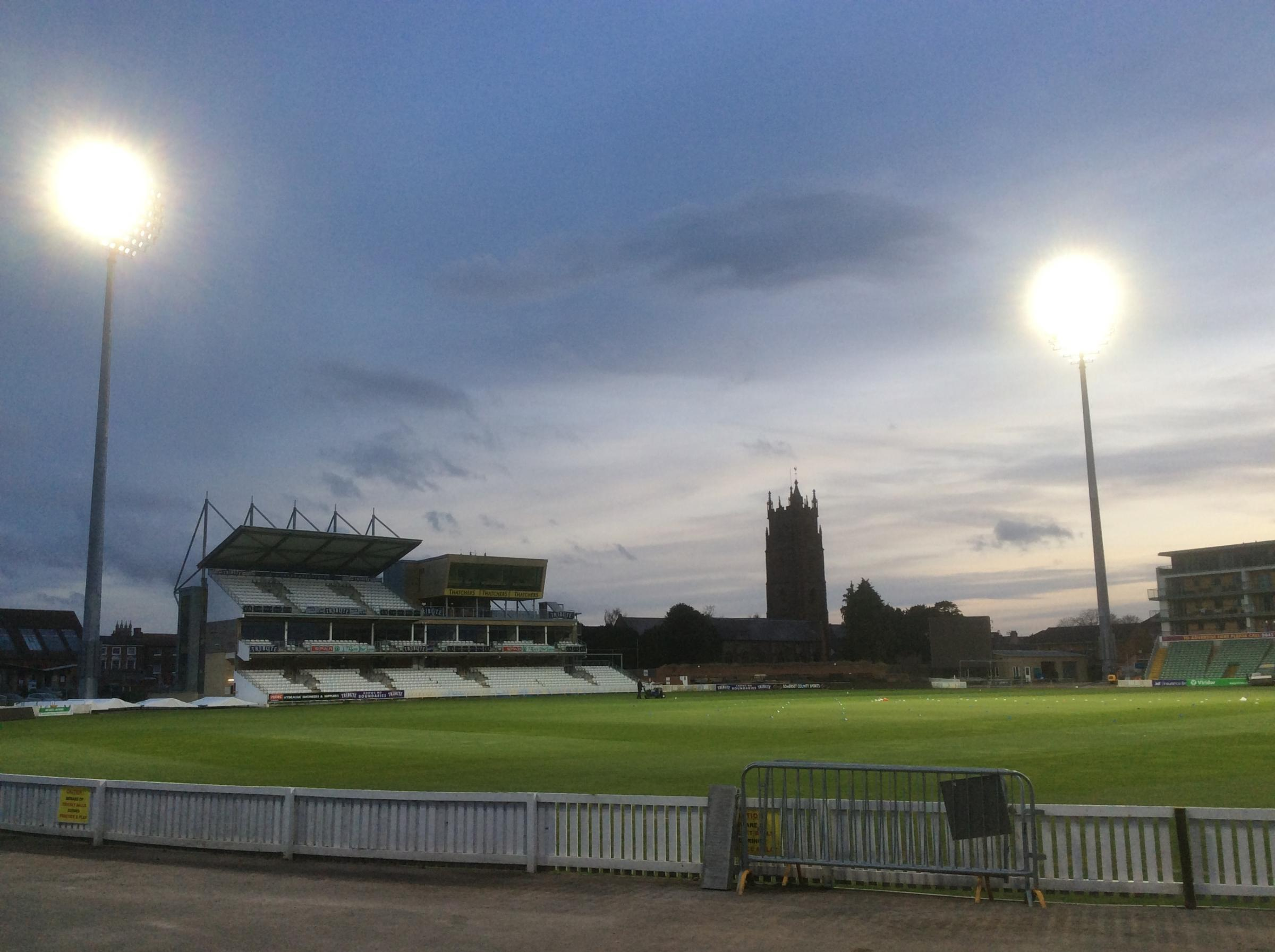 LET THERE BE LIGHT: Floodlights are trialled at Somerset County Cricket Club's Cooper Associates County Ground