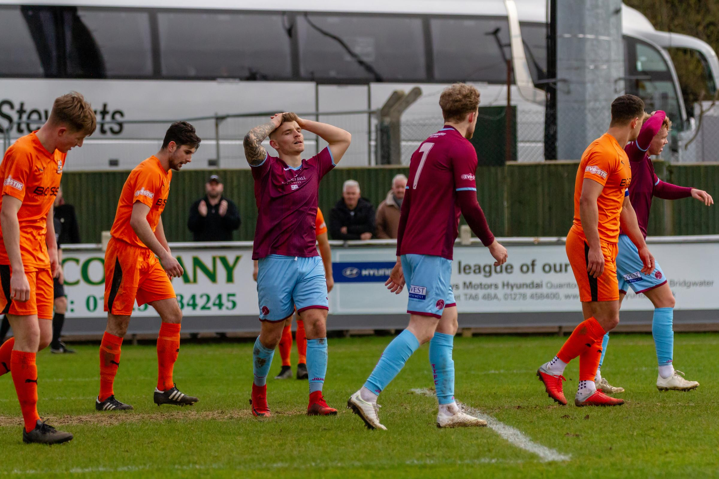 FRUSTRATED: Andrew Neal reacts to a missed chance in last weekend's 2-2 draw against Harltey Wintney. Pic: Ashley Harris