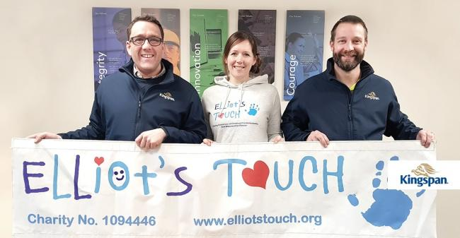 READY FOR RUN: Aaron Clark and Chris Spink of Kingspan Water & Energy; with Sarah Humphries of Elliot's Touch