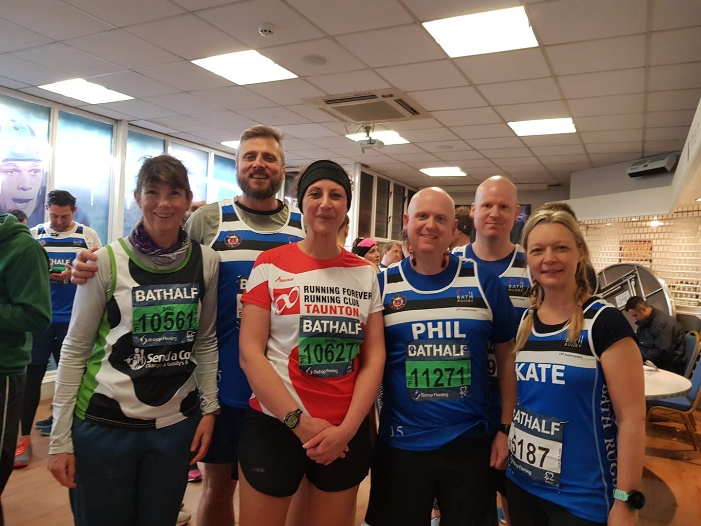 SQUAD: Running Forever at the Bath Half Marathon: Sally Tuer, John Allaway, Emily Vining, Phil Parsons, Mike Parsons, Kate Reed.